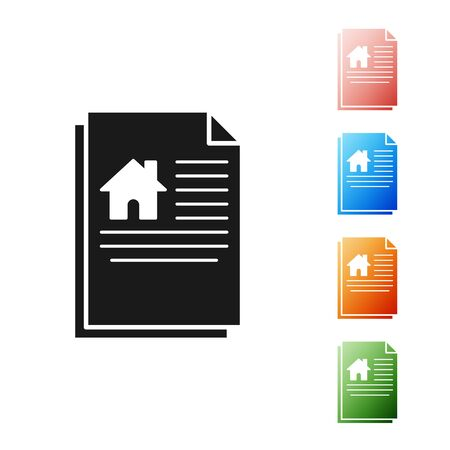 Black House contract icon isolated on white background. Contract creation service, document formation, application form composition. Set icons colorful. Vector Illustration Stock Illustratie