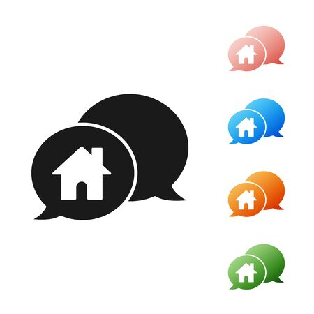 Black House building in speech bubble icon isolated on white background. Real estate concept. Set icons colorful. Vector Illustration