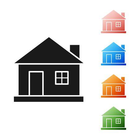 Black House icon isolated on white background. Home symbol. Set icons colorful. Vector Illustration 일러스트