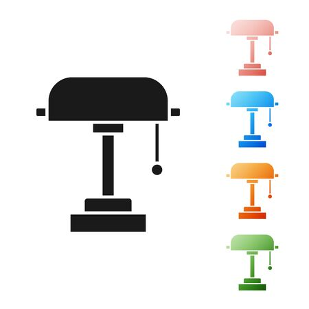 Black Table lamp icon isolated on white background. Set icons colorful. Vector Illustration