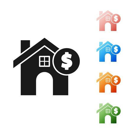 Black House with dollar symbol icon isolated on white background. Home and money. Real estate concept. Set icons colorful. Vector Illustration 向量圖像