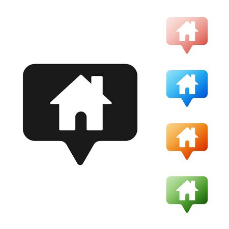 Black Map pointer with house icon isolated on white background. Home location marker symbol. Set icons colorful. Vector Illustration
