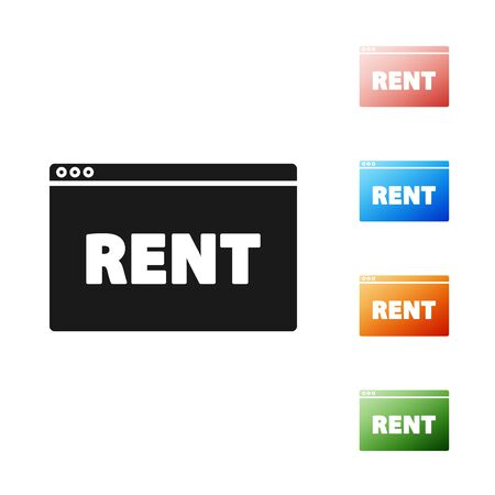 Black Hanging sign with text Online Rent icon isolated on white background. Signboard with text Rent. Set icons colorful. Vector Illustration