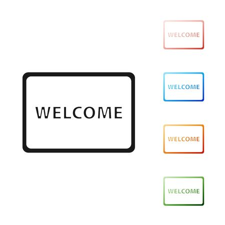 Black Doormat with the text Welcome icon isolated on white background. Welcome mat sign. Set icons colorful. Vector Illustration