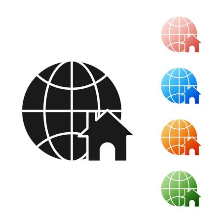 Black Globe with house symbol icon isolated on white background. Real estate concept. Set icons colorful. Vector Illustration
