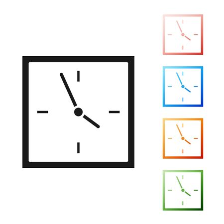 Black Clock icon isolated on white background. Time symbol. Set icons colorful. Vector Illustration  イラスト・ベクター素材