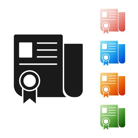 Black Certificate template icon isolated on white background. Achievement, award, degree, grant, diploma. Business success certificate. Set icons colorful. Vector Illustration Reklamní fotografie - 133895301