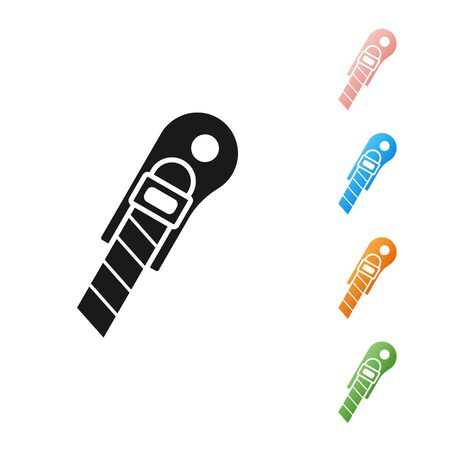 Black Stationery knife icon isolated on white background. Office paper cutter. Set icons colorful. Vector Illustration  イラスト・ベクター素材