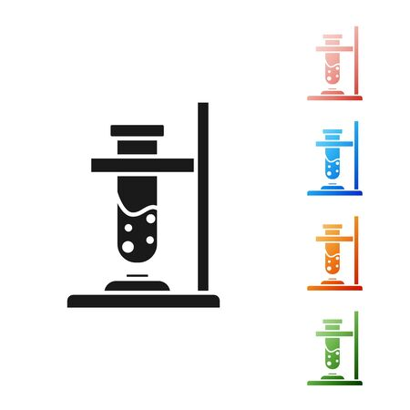 Black Glass test tube flask on fire heater experiment icon isolated on white background. Laboratory equipment. Set icons colorful. Vector Illustration