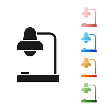 Black Table lamp icon isolated on white background. Table office lamp. Set icons colorful. Vector Illustration  イラスト・ベクター素材