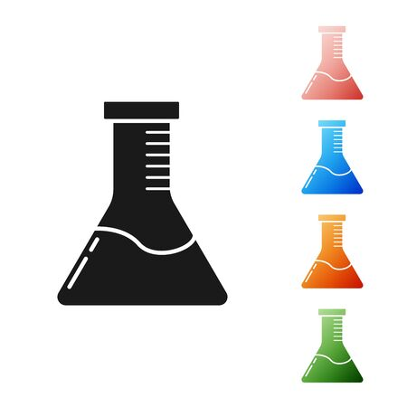Black Test tube and flask chemical laboratory test icon isolated on white background. Laboratory glassware sign. Set icons colorful. Vector Illustration