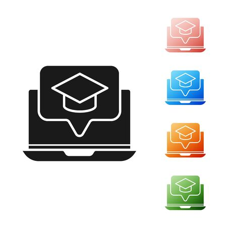 Black Graduation cap on screen laptop icon isolated on white background. Online learning or e-learning concept. Set icons colorful. Vector Illustration