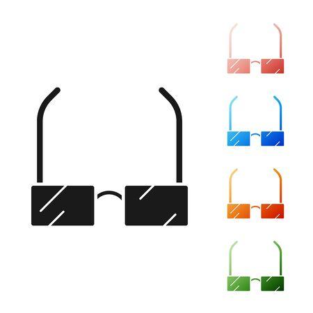 Black Glasses icon isolated on white background. Eyeglass frame symbol. Set icons colorful. Vector Illustration 向量圖像