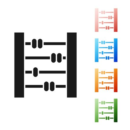 Black Abacus icon isolated on white background. Traditional counting frame. Education sign. Mathematics school. Set icons colorful. Vector Illustration