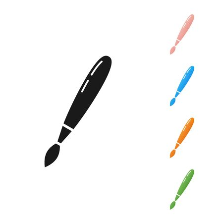 Black Paint brush icon isolated on white background. Set icons colorful. Vector Illustration