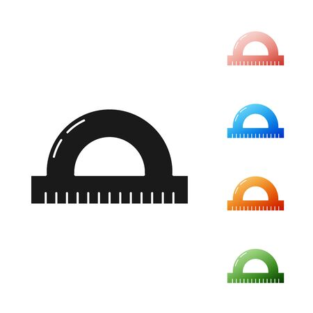 Black Protractor grid for measuring degrees icon isolated on white background. Tilt angle meter. Measuring tool. Geometric symbol. Set icons colorful. Vector Illustration  イラスト・ベクター素材