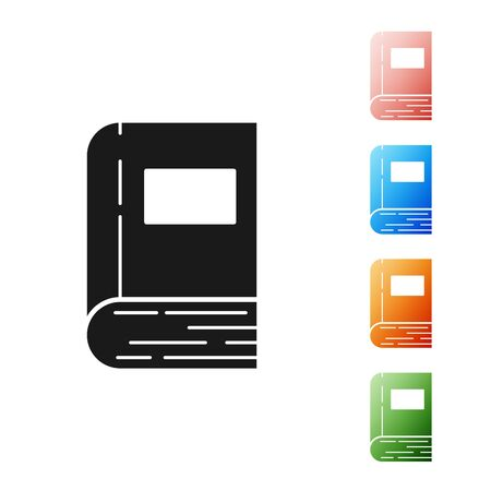 Black Book icon isolated on white background. Set icons colorful. Vector Illustration