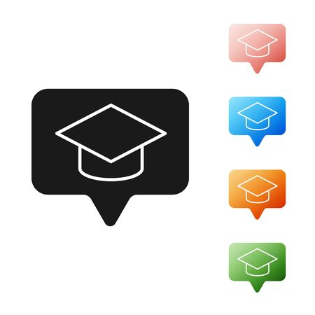 Black Graduation cap in speech bubble icon isolated on white background. Graduation hat with tassel icon. Set icons colorful. Vector Illustration