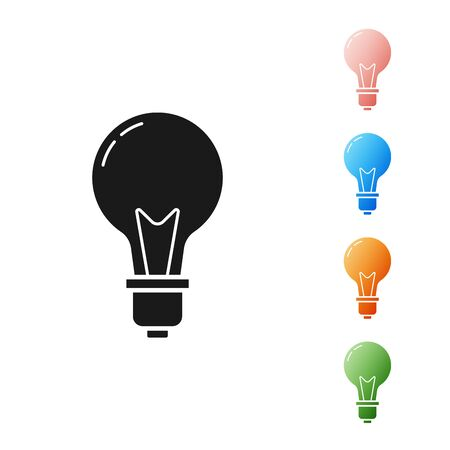 Black Light bulb with concept of idea icon isolated on white background. Energy and idea symbol. Inspiration concept. Set icons colorful. Vector Illustration