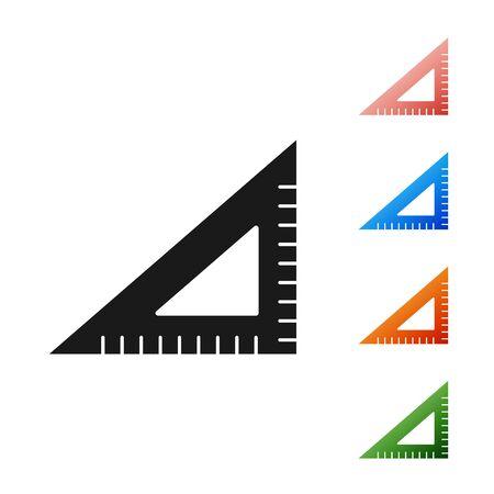 Black Triangular ruler icon isolated on white background. Straightedge symbol. Geometric symbol. Set icons colorful. Vector Illustration Reklamní fotografie - 133901292