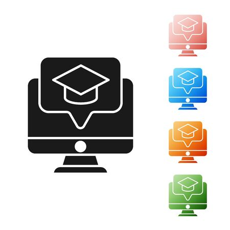 Black Computer monitor with graduation cap icon isolated on white background. Online learning or e-learning concept. Set icons colorful. Vector Illustration