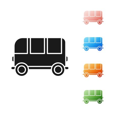 Black School Bus icon isolated on white background. Set icons colorful. Vector Illustration