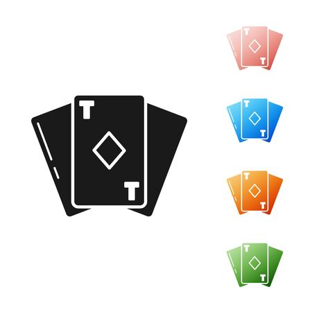 Black Playing card with diamonds symbol icon isolated on white background. Casino gambling. Set icons colorful. Vector Illustration 向量圖像