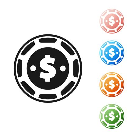 Black Casino chip with dollar symbol icon isolated on white background. Casino gambling. Set icons colorful. Vector Illustration