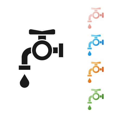 Black Water tap icon isolated on white background. Set icons colorful. Vector Illustration Archivio Fotografico - 133901358