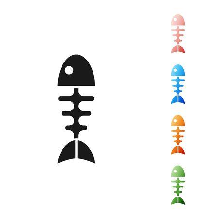Black Fish skeleton icon isolated on white background. Fish bone sign. Set icons colorful. Vector Illustration
