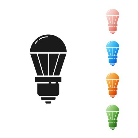 Black LED light bulb icon isolated on white background. Economical LED illuminated lightbulb. Save energy lamp. Set icons colorful. Vector Illustration