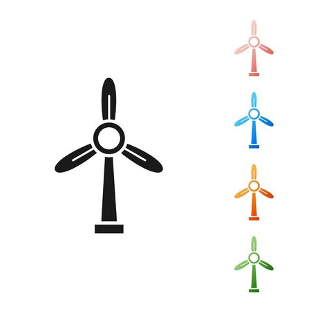 Black Wind turbine icon isolated on white background. Wind generator sign. Windmill for electric power production. Set icons colorful. Vector Illustration