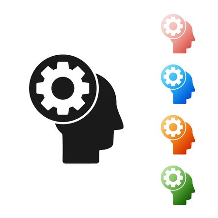 Black Human head with gear inside icon isolated on white background. Artificial intelligence. Thinking brain sign. Symbol work of brain. Set icons colorful. Vector Illustration