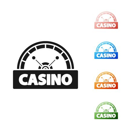Black Casino signboard icon isolated on white background. Set icons colorful. Vector Illustration