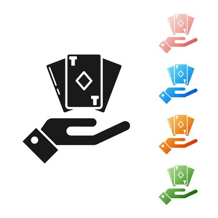Black Hand holding deck of playing cards icon isolated on white background. Casino gambling. Set icons colorful. Vector Illustration