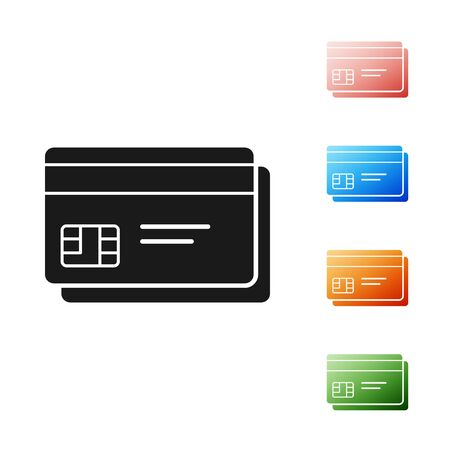 Black Credit card icon isolated on white background. Online payment. Cash withdrawal. Financial operations. Shopping sign. Set icons colorful. Vector Illustration 向量圖像