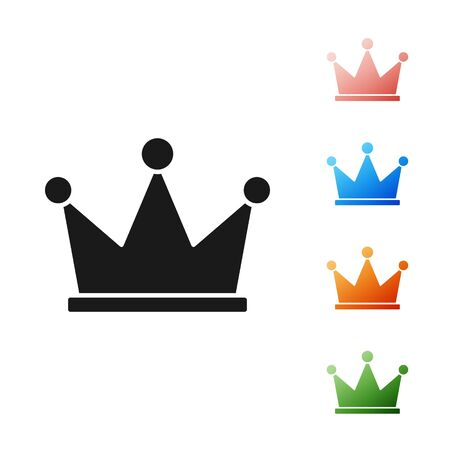 Black Crown icon isolated on white background. Set icons colorful. Vector Illustration Ilustrace