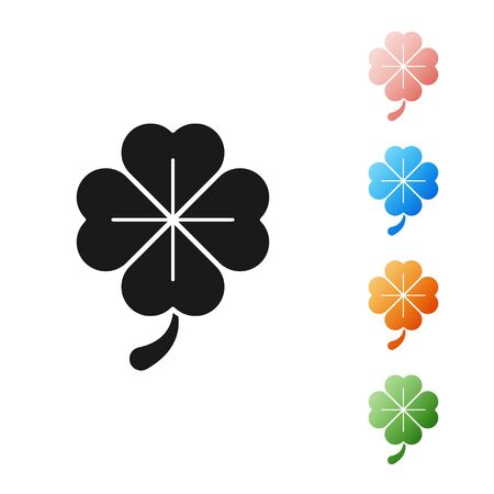 Black Four leaf clover icon isolated on white background. Happy Saint Patrick day. Set icons colorful. Vector Illustration