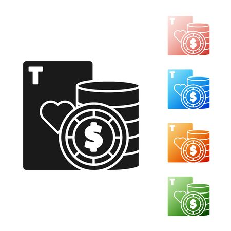 Black Casino chip and playing cards icon isolated on white background. Casino poker. Set icons colorful. Vector Illustration
