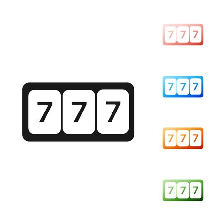 Black Slot machine with lucky sevens jackpot icon isolated on white background. Set icons colorful. Vector Illustration