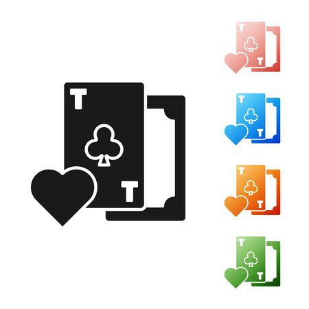 Black Playing card with clubs symbol icon isolated on white background. Casino gambling. Set icons colorful. Vector Illustration