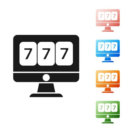 Black Online slot machine with lucky sevens jackpot icon isolated on white background. Online casino. Set icons colorful. Vector Illustration 向量圖像