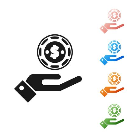 Black Hand holding casino chips icon isolated on white background. Casino gambling. Set icons colorful. Vector Illustration 向量圖像