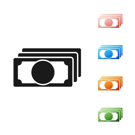 Black Stacks paper money cash icon isolated on white background. Money banknotes stacks. Bill currency. Set icons colorful. Vector Illustration