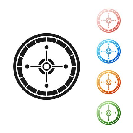 Black Casino roulette wheel icon isolated on white background. Set icons colorful. Vector Illustration  イラスト・ベクター素材