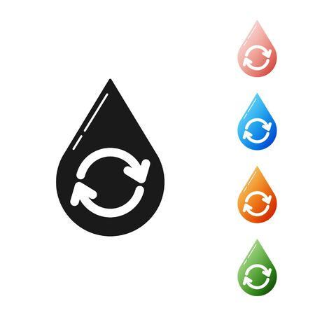 Black Recycle clean aqua icon isolated on white background. Drop of water with sign recycling. Set icons colorful. Vector Illustration Archivio Fotografico - 133901548