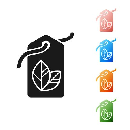 Black Tag with leaf symbol icon isolated on white background. Banner, label, tag,  sticker for eco green. Set icons colorful. Vector Illustration Reklamní fotografie - 133901552