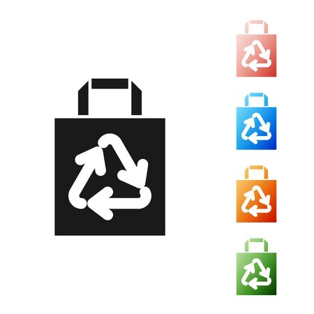 Black Paper shopping bag with recycle icon isolated on white background. Bag with recycling symbol. Set icons colorful. Vector Illustration