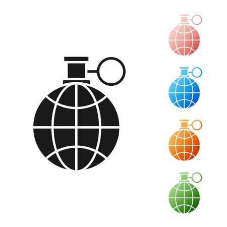 Black Planet earth and a recycling icon isolated on white background. Environmental concept. Set icons colorful. Vector Illustration