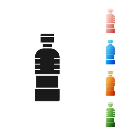 Black Bottle of water icon isolated on white background. Soda aqua drink sign. Set icons colorful. Vector Illustration Archivio Fotografico - 133901649